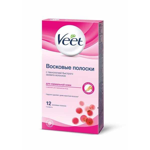 Восковые полоски для нормальной кожи Veet  12 шт, 2 салфетки