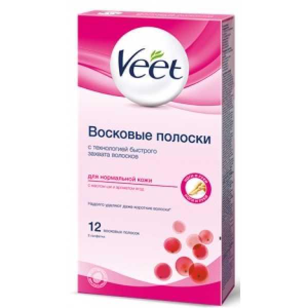VEET Восковые полоски 12шт для  НОРМ  кожи  (роз.)
