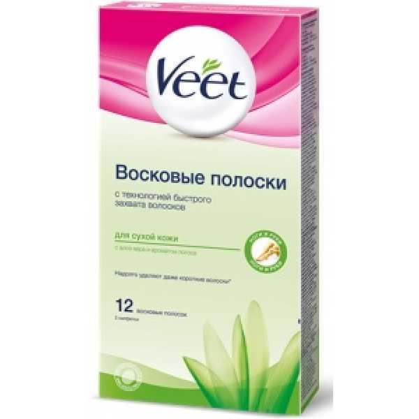 VEET Восковые полоски 12шт для  СУХ   кожи  (зел.)