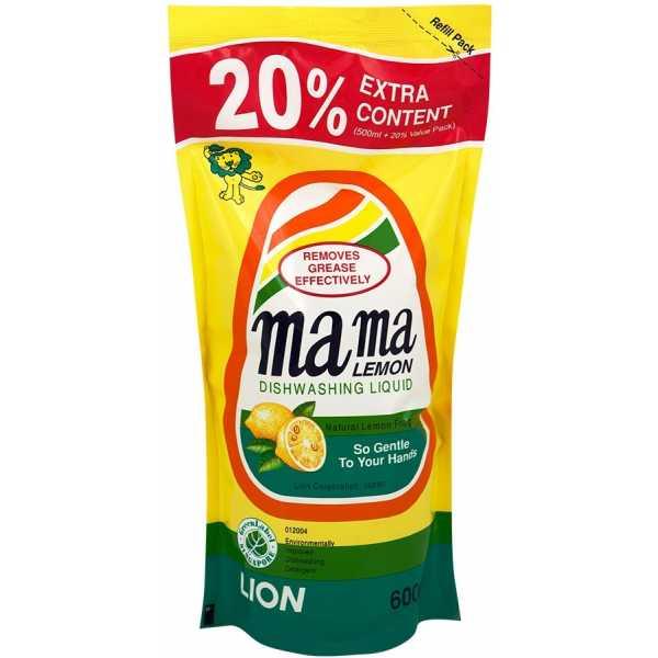 Концентрированный гель, Mama lemon для мытья посуды и детских принадлежностей с ароматом Лимона, сменный блок, 600 мл
