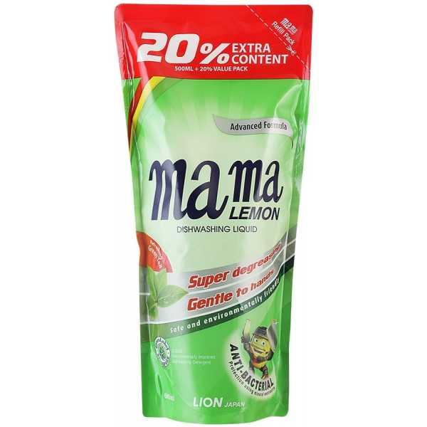 Концентрированный гель, Mama lemon для мытья посуды и детских принадлежностей с ароматом зеленого чая, сменный блок, 600 мл